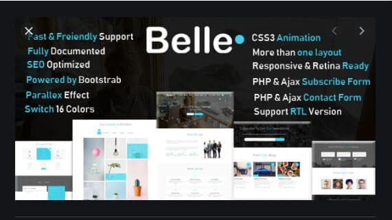 Belle One Page HTML template
